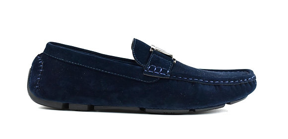 Boy's Faux Suede Slip on Loafer Navy