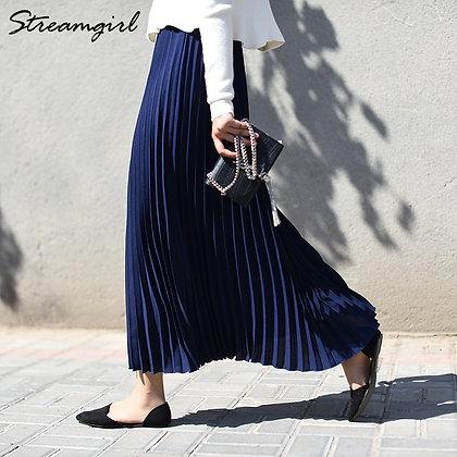 High-Waisted Pleated - Elastic Maxi Skirt