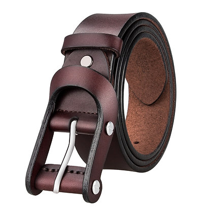 Brown Leather -Pin Buckle Mens Casual Belts