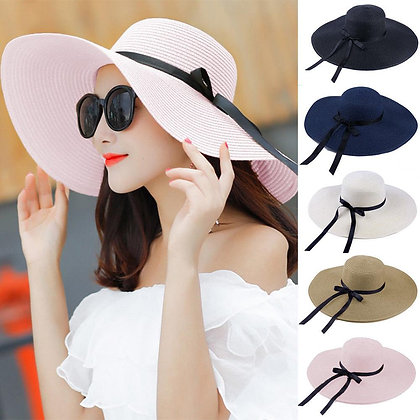 Wide Brim Straw Hats Big Sun UV Protection Floppy Beach Bow Hat Straw Hats