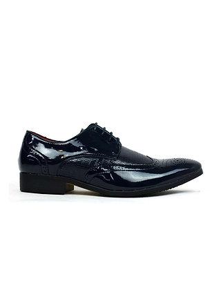 Men's Formal Brogue Shoes Navy Shiny