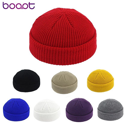 Unisex Beanie Hat / Ribbed Knitted Cuffed Winter Hat