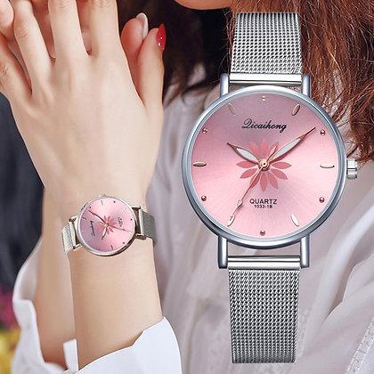 Silver Popular Pink Dial Quartz Clock Fashion Watch
