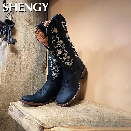 Floral Embroidered Western Cowgirl Ankle Boots