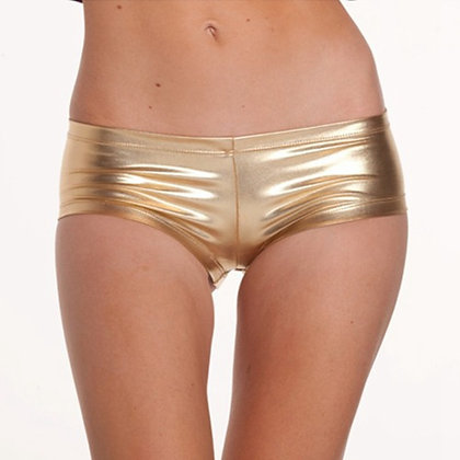 Golden Silver Mini Imitation Leather Short / Low Waist Short