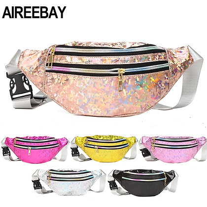 AIREEBAY 3-Zipper Pocke Holographic Fanny Pack - Silver Sequined Waist Pack