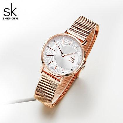 Shengke - Quartz Stainless Steel Watchband / Bayan Kol Saati Reloj Mujer