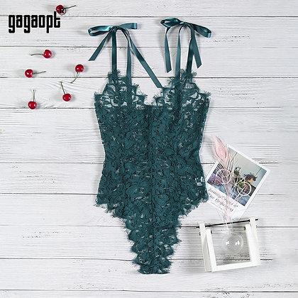 Gagaopt - Floral Embroidery Elegant Bodysuit