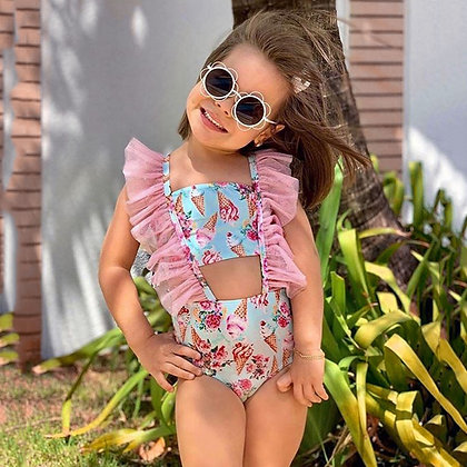 Ice-Cream Print One-Piece Swimsuit for Girls at Googoostore