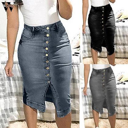 Short Denim Plus Size Skirts / High Waist