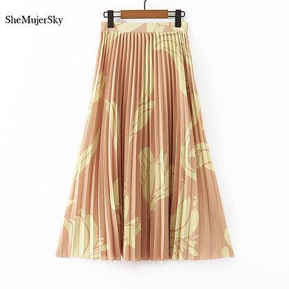 SheMujerSky - High Waist Pleated Skirt