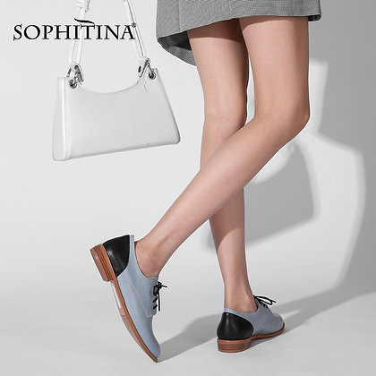 SOPHITINA - Quality Handmade Genuine Leather Round Toe Lace-Up Low Heels Shoes