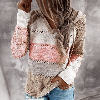 Hooded Long Sleeve V-Neck Knitted Casual Pullover Jumpers