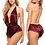 Thumbnail: Fashion Pajama Smooth Satin Lace Nightwear Bodysuits  Lace Cross Bandage