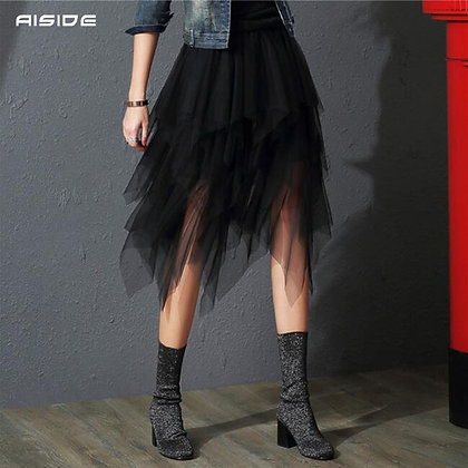 Tulle - Irregular Elastic High Waist Mesh Pleated Skirt