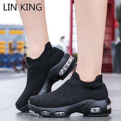 Breathable Elastic Wedge Platform Slip on Chunky Sneakers / Big Size 35-43