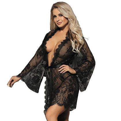 Sexy Lingerie With Belt Big Size 7XL Erotic Clothing Lace Kimono Robe