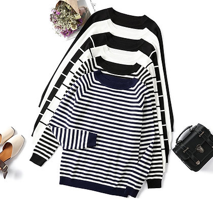 Long Sleeve Striped Pullover / Knitted Sweaters