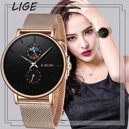 LIGE - Luxury Waterproof Stainless Steel Ultra-Thin Casual Wrist Watch