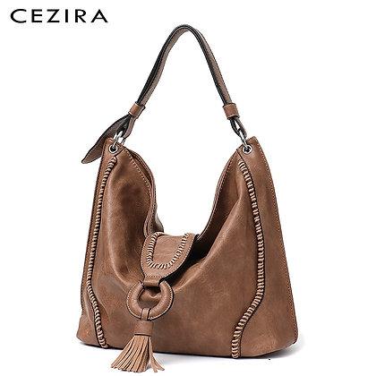 CEZIRA Fashion Vegan Leather Shoulder Bag /Bohemia Tassel Design /PU Leather