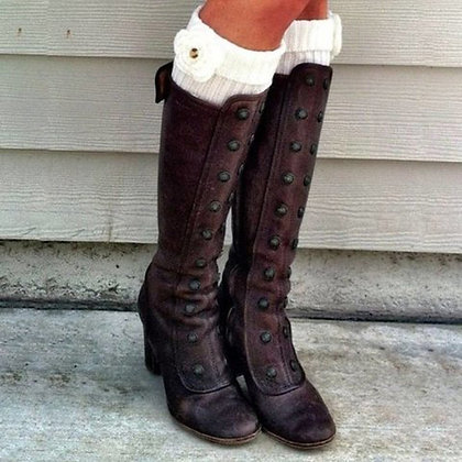 Knee-High Long Boots / Fashion Retro Rivets Side Zip Boots