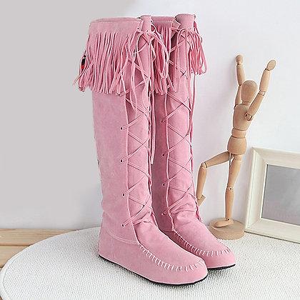 Bohemian Boho - Knee High Tassel Fringe Flat Boots / Faux Suede Leather