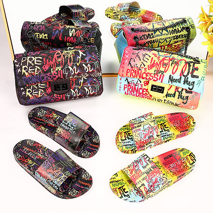 2021 New Graffiti Matching Bags and Slippers at Googoostore