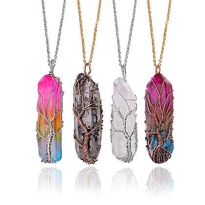 7 Chakra Natural Rainbow Stone Tree of Life Hand-made Pendant / Necklace