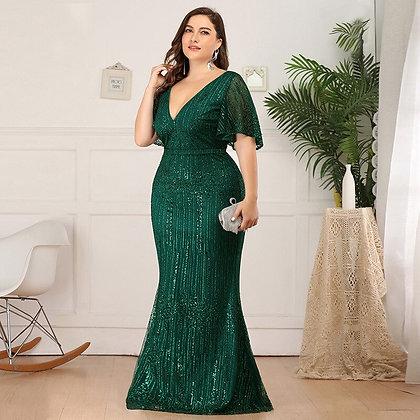 V-Neck Elegant Evening Dress /  Plus Sizes