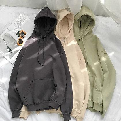 Fleece Oversized Hooded Sweatshirt / Hip Hop Pullover Tops