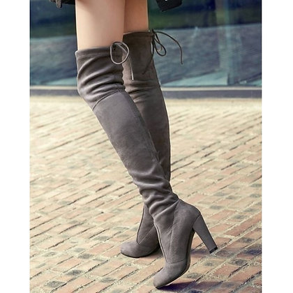 Faux Suede Over the Knee -Lace Up Sexy High Heels Boots /34-43