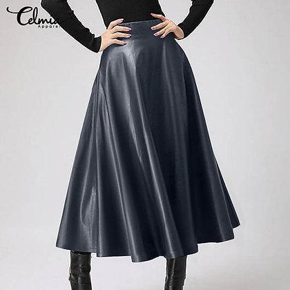 Elegant PU Leather High Waist Skirt / Plus Size