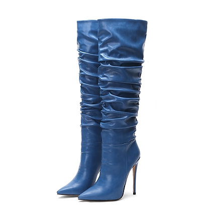 Knee High Pointed Toe Pleated High Heel Boots / Plus Sizes