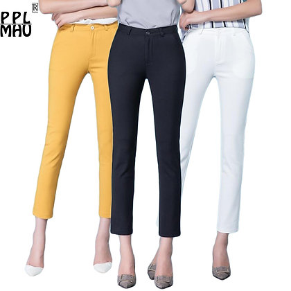 Casual Trousers Women 95% Cotton Elastic Slim Skinny Pants Street Wear