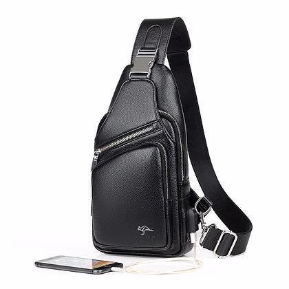 Burglar proof Black Leather Cross Body Bag - Mens Chest Bag