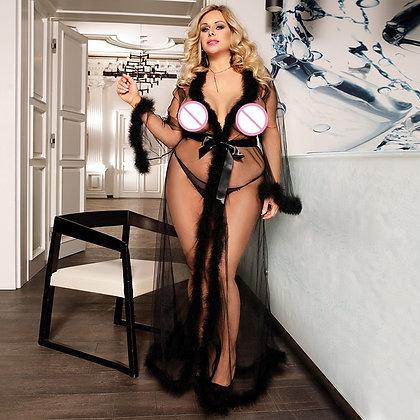 Lace Lingerie Robe Long Sheer Plus Size Sexy Dress Babydolls / Transparent