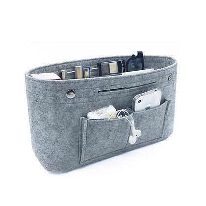Makeup Storage Organizer,Felt Cloth Insert Cosmetic Bag Multi-Pockets