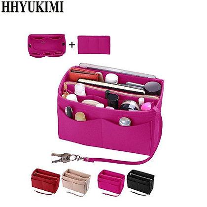 Make Up Organizer Insert Bag , Felt Bag With Zipper, Travel Inner Purse