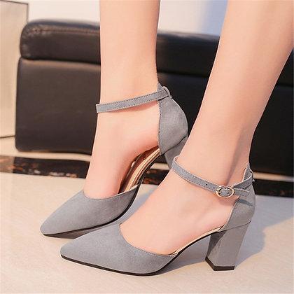 High Heels Gray Buckle Hollow Sandals