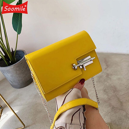 Simple Chain Crossbody New Pu Leather /Yellow Green Fashion Shoulder Bag