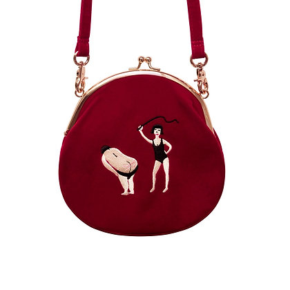 YIZI SToRe Vintage Velvet Embroidery Women Messenger Bags in Semi-Circle