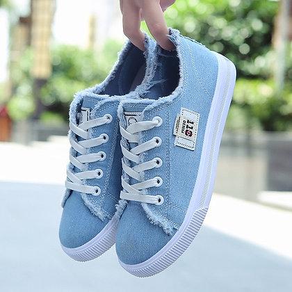 Canvas Flat Lace-Up Shoes