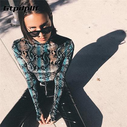 Gtpdpllt - Snake Skin Print Bodysuit / Long Sleeve Tops  at Googoostore