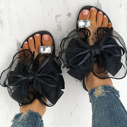 Luxury Slippers for Women / Rhinestone Ring Toe / Bow-Tie Flats Flip Flops
