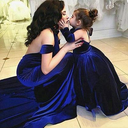 Modern Royal Blue Velvet Evening Dress / Mother and Children Formal Dresses