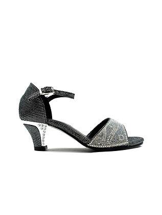 Girl's Ankle Strap Kitten Heel Party Sandal Black