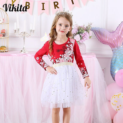 Kids Christmas Dress for Girls Long Sleeve Child Party Perform Sequins Dress