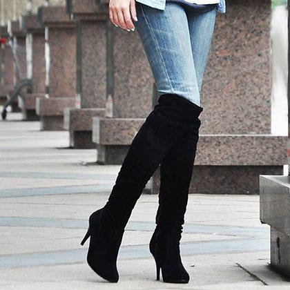 Suede Thin High Heel Over Knee Boots