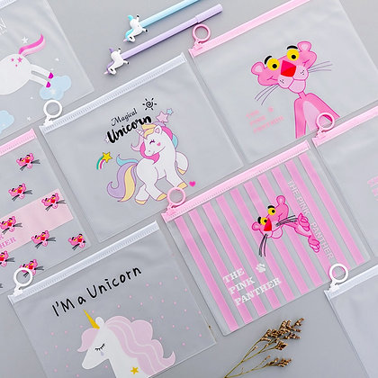 Cute Pink Leopard Unicorn Transparent Travel Cosmetic Bag Make Up Case