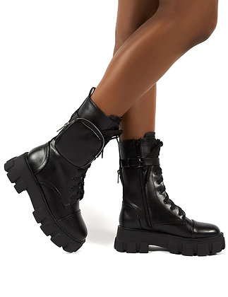 Lace-Up Ladies Buckle Strap Chunky Platform Boots
